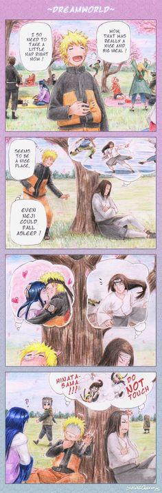 Naruto picking up after Pervy-Sage and have a naughty dream, with Neji being overprotective toward Hinata makes for a pretty accurate dream world. Naruto Uzumaki, Naruhina, Hinata Hyuga, Naruto Comic, Manga Anime, Funny Naruto Memes, Naruto Family, Naruto Cute, Naruto Pictures