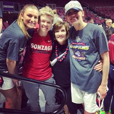 Congrats to the GU Lady Zags, the 2017 Women's WCC Champions. McNeice Wheeler office manager, Terri Huddle, with Laura Stockton, Stacy Clinesmith and Elle Tinkle.