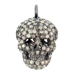 Pave Diamond Sterling Silver SKULL Charm Pendant Style Halloween Gift Jewelry #Handmade #Charm