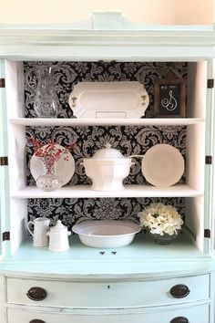"""Antique Hutch Makeover with Fabric """"Wallpaper"""" Back ⋆ Chalk Paint Powder Thrift Store Furniture, Repurposed Furniture, Painted Furniture, Distressed Furniture, Refurbished Furniture, Hutch Makeover, Furniture Makeover, Diy Furniture, Furniture Refinishing"""