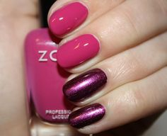 I would totally do this: Zoya Nail Polish in Reagan and Carly.  (Reagan - A deep, cool fuchsia pink w/subtle blue undertone & an opaque cream finish.  Carly - Very rich, bold, red-toned dark purple w/iridescent red & silver metallic shimmer & a dense foil finish.)