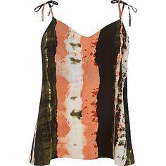 Plus orange tie dye bow shoulder cami top - cami / sleeveless tops - tops - women