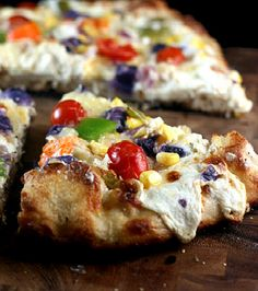 Three Cheese Roasted Garlic Vegetable Pizza - A creamy secret ingredient makes this pizza really special!