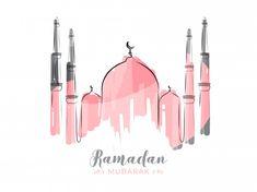 Islamic holy month of ramadan kareem with line-art pink mosque on white background. Eid Crafts, Ramadan Crafts, Ramadan Decorations, Eid Mubarak Background, Ramadan Background, Pink Mosque, Ramadan Poster, Happy Islamic New Year, Happy Muharram