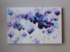 Abstract painting,Original Painting,abstract flower painting,navy, dark blue, indigo blue ,Violet,purple , canvas art,