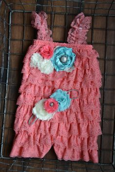 Coral Aqua Cream Lace Baby Romper by BoutiqueSweetChic on Etsy, $30.00