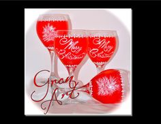 Christmas Red Wine Glass Holiday Home Decor Christmas by GranArt