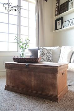 Ana White | Build a Becca Trunk | Free and Easy DIY Project and Furniture Plans – build to fit extra work files in and put a cushion on top! | Look around! **I would love to try this**
