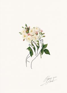 HOLDING FLOWERS   LINE ART   Cocorrina