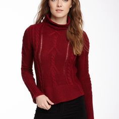 "Red BB Dakota Caden Cable Knit Sweater NEW:  BB Dakota: Caden cable knit sweater  Details: - Funnel neck - Long sleeves - Cable knit with rib knit trim - Approx. 22"" length - Imported Fiber Content: 70% acrylic, 30% wool Care: Hand wash Additional Info: Fit: true to size BB Dakota Sweaters"