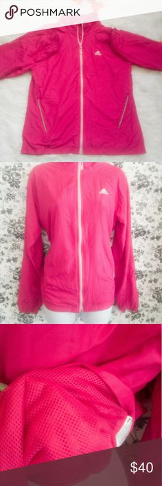 ADIDAS NYLON WINDBREAKER JACKET ADIDAS NYLON WINDBREAKER JACKET. PRE LOVED IN EXCELLENT CONDITION.  Worn once. 100 percent Nylon and polyester.  No stains holes or rips. Color is a bright pink. Size large adidas Jackets & Coats