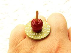 Hey, I found this really awesome Etsy listing at https://www.etsy.com/listing/111945887/candy-apple-ring-miniature-food-ring-eat