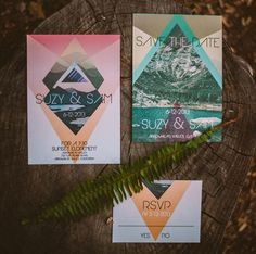 Check out these modern, geometric, neon wedding invitations with nature photos
