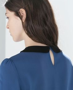 51073469f8343a Image 5 of BLOUSE WITH CONTRASTING COLLAR from Zara Zara Femme