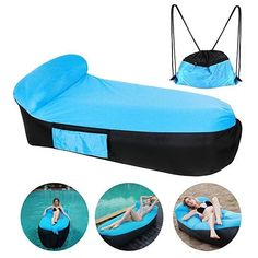 CooSkin Inflatable Lounger Air Sofa Bed Lounge Beach Chair with U-Shape Neck Pil. CooSkin Inflatable Lounger Air Sofa Bed Lounge Beach Chair with U-Shape Neck Pillow and Handy Storage Bag for Travelling. Air Sofa Bed, Sofa Bed Lounge, Air Lounge, Outdoor Loungers, Inflatable Bed, Neck Pillow, Beach Chairs, Bag Storage, Indoor Outdoor
