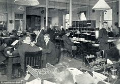 Communications experts are seen inside the secret communications outpost at Porthcurno near Land's End