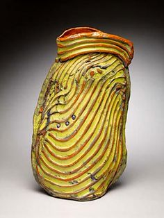 Jane McDonald - Ribbed Vessel with yellow pearls, raku fired ceramics Jane Mcdonald, Yellow Pearl, My Cup Of Tea, Contemporary Ceramics, Ceramic Clay, Ceramic Artists, Pottery Vase, Handmade Pottery, Along The Way
