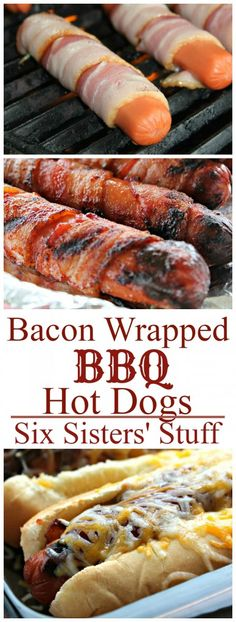 Hot dogs just got a whole lot better. These Bacon Wrapped Hot Dogs will be a HUGE with the men in your life and with your kids! BBQ Bacon Wrapped Broiled Hot Dogs Author: Six Sisters Stuff Prep . Hot Dog Recipes, Barbecue Recipes, Bacon Recipes, Grilling Recipes, Cooking Recipes, Recipes With Hotdogs, Cooking Box, Healthy Grilling, Game Recipes