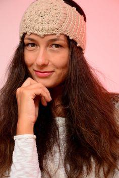 Beige crochet headband hippie style ear by SexyCrochetByOlga