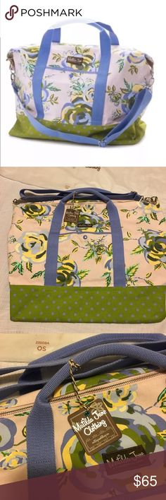 NWT Matilda Jane Up and Away Weekender Tote If you ❤️ Matilda Jane then you know this weekender bag is beautiful. It's lavender with green polka dots and a floral pattern. Matilda Jane Other