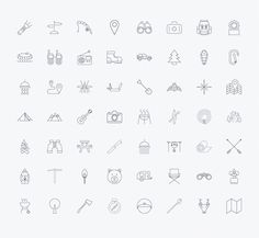 Outline stroke Camping icons. by Oleksii on @creativemarket