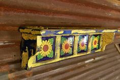 Primitive southwest wall shelf sunflower wall by LynxCreekDesigns, $79.99