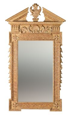George II Giltwood Mirror in the Manner of William Kent Antique Frames, Old Frames, Wooden Frames, Antique Mirrors, Custom Mirrors, Home Decor Mirrors, Decoration, Antique Furniture, Interior Decorating