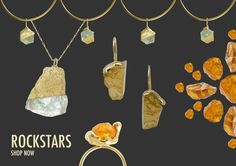 Shop — The Rock Hound 'RockStars' Collection The Rock, Jewelry Collection, Geek Stuff, Drop Earrings, Gemstones, Jewellery, Gold, Gifts, Shopping