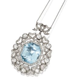 PLATINUM, AQUAMARINE AND DIAMOND PENDANT-NECKLACE, CIRCA 1910. The pendant designed with a bow and ribbon motif, set in the center with an octagonal-shaped aquamarine weighing approximately 40.00 carats, framed by 8 larger old European-cut diamonds weighing approximately 4.20 carats, accented by single-cut and rose-cut diamonds weighing approximately 1.95 carats, suspended from a platinum link necklace