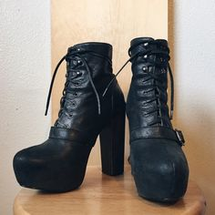 Moto platform buckle lace up ankle booties Gorgeous perfectly worn in/ distressed looking leather boots. These will punch up any outfit.  5 inch heel with a 1.25 inch platform. True to size 8, I'm a wide 7.5 and they fit great with average knit socks.           Lovers of: Free People / Urban Outfitters / Nasty Gal / Sisters of the Black Moon / Ovate / Nutsa / Miista / Matiko / Jeffrey Campbell / shakuhachi Steve Madden Shoes Ankle Boots & Booties