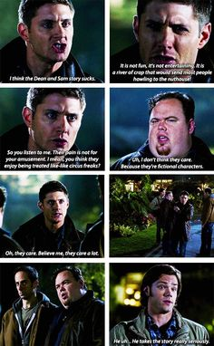 """Basically what the whole fandom says every Tuesday... """"Stop hurting Sam and Dean, we love them!!"""" LOL"""