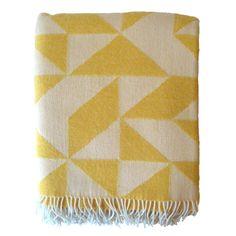 Yellow Geometric Merino Wool Blanket