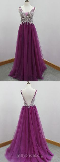 Popular Backless Party Gowns, V-neck Tulle Sweep Train Long Formal Dresses, Crystal Detailing Evening Prom Dresses