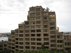 """Brutalist Apartments - """"Sirius"""", Sydney Harbour on approach to the bridge"""