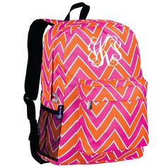 4ae3e84f0689 Monogram Backpack and Lunch Bag Set - Wildkin - Personalized - Zig Zag Pink  - Back