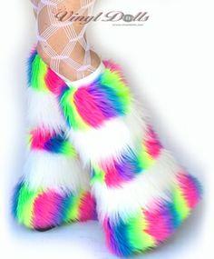 UV Neon Rainbow White Fur Rave Fluffies Leg Warmers
