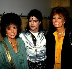 Elizabeth Taylor, Michael Jackson and Sophia Loren, 1990s.