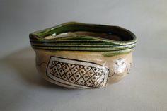 Japanese Vintage Oribe Tea Bowl By Kato Jyuemon