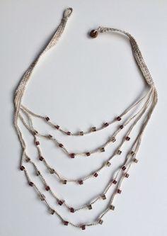 Light brown and mauve layers crochet necklace от GabyCrochetCrafts