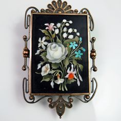 Pietra Dura Brooch Victorian Brooch Antique Brooches by SalonUber