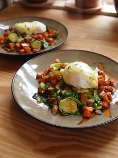 Sweet Potato And Brussels Sprouts Hash With Poached Egg And Thyme Hollandaise