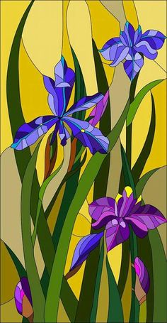 Beautiful garden flowers and bouton of Iris, floral vector composition / stained glass window Glass Painting Designs, Stained Glass Designs, Stained Glass Patterns, Mosaic Flowers, Stained Glass Flowers, Stained Glass Quilt, Stained Glass Panels, Mosaic Art, Mosaic Glass