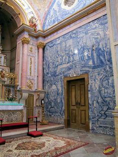 Church with Azulejos - Portugal - Tavira Visit Portugal, Spain And Portugal, Portugal Travel, Algarve, Santa Maria, Portuguese Tiles, Blue Tiles, Classical Architecture, Kirchen