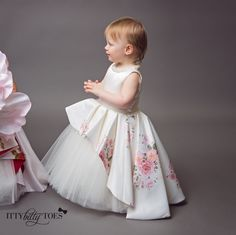 Itty Bitty Toes Couture Line featuring handmade pieces only, crafted to perfection for your little darling. Visit Itty Bitty Toes now - The Best Children's Boutique! Plum Flower Girl Dresses, Little Girl Dresses, Girls Dresses, Baby Dresses, Dress Girl, Baby Girl Birthday Dress, Birthday Dresses, Coco Moda, Kids Gown