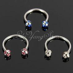 Crystal Surgical Steel Horseshoe Lip Bar Stud Nose Ear Nipple Ring Hoop Piercing