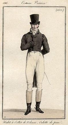 Men's ensemble with black velvet jacket, 1816.
