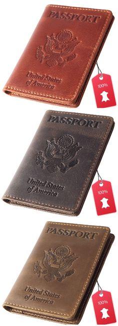 Travel Passport Wallet for Women /& Men Air Plane Vegan Leather Passport Holder with Matching Luggage Tag Set Dark Brown, Passport Cover + 2 Luggage Tags
