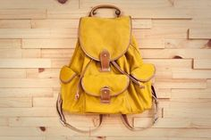 Fabric and Handle - Felice Backpack in mustard canvas Rucksack Backpack, Canvas Backpack, Leather Backpack, Yellow Backpack, Belt Purse, Cool Backpacks, Canvas Leather, Slow Fashion, Purses And Handbags