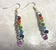 Beaded Rainbow Dangle Earrings. Made With Recycled by InnerCrows, $8.00