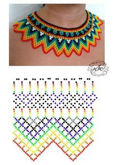 Sunshine Home Decor: Bead knitted necklace models-annotated - DIY Schmuck Brick Stitch Patterns, Seed Bead Patterns, Beading Patterns, Knitted Necklace, Beaded Necklace Patterns, Beaded Collar, Collar Necklace, Necklace Set, Diy Schmuck